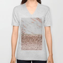 Warm chromatic - rose gold marble Unisex V-Neck