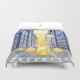 NYC, yellow cabs Duvet Cover