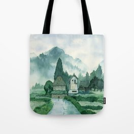 Japanese Village , After Rain ,  Art Watercolor Painting print by Suisai Genki  Tote Bag