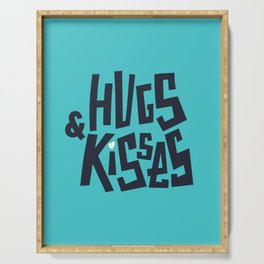 Hugs and Kisses. Love lettering. Serving Tray