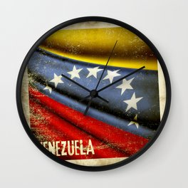 Grunge sticker of Venezuela flag Wall Clock