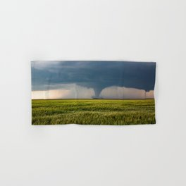 Behind the Scene - Large Tornado Passes Safely Behind a Farmhouse in Kansas Hand & Bath Towel