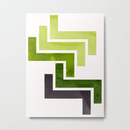 Sap Green Pattern Mid-century Modern Simple Geometric Pattern Watercolor Minimalist Art Squares Metal Print