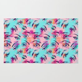 Mascara and colored eye shadow Pattern Rug