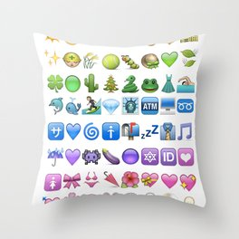 Emoji icons by colors Throw Pillow
