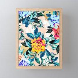 Flowery pattern with golden brushstroke Framed Mini Art Print