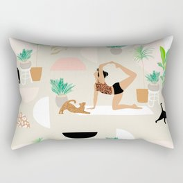 Mid Century Modern Yoga pattern with cats and plants Rectangular Pillow