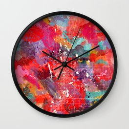 Fort Collins map Colorado painting 2 Wall Clock