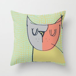 Cubist Cat Study #3 by Friztin Throw Pillow