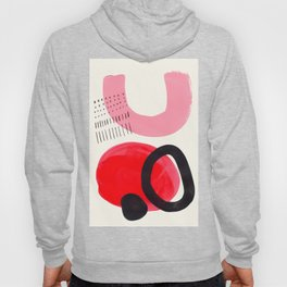 Vintage Abstract Mid Century Modern Playful Pink Red Candy Colors Organic Shapes Hoody