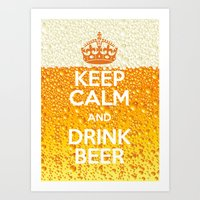 beer Art Prints featuring Beer by Text Guy