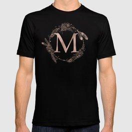 Letter M Rose Gold Pink Initial Monogram T-shirt