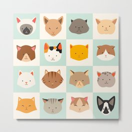 Set of cute cats icons, vector flat illustrations. Cat breeds, pattern, card, game graphics Metal Print