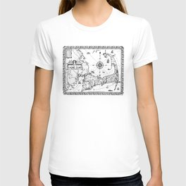 Vintage Map of Cape Cod BW T-shirt