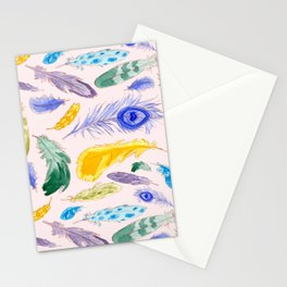 Jewel Tone Feathers Stationery Cards