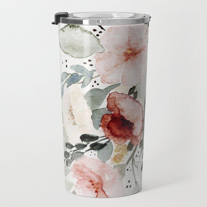 Loose Watercolor Bouquet Travel Mug