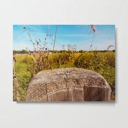 Empty Prairie Fencepost Metal Print