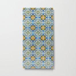 Seamless Floral Pattern Ornamental Tile Design : 2 - Blue, yellow Metal Print