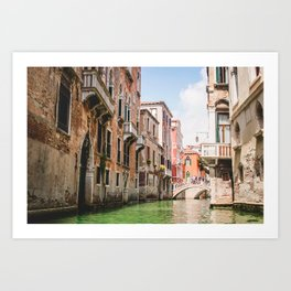 Venice Brownstones   Europe Italy City Architecture Photography of Venice Canals Art Print