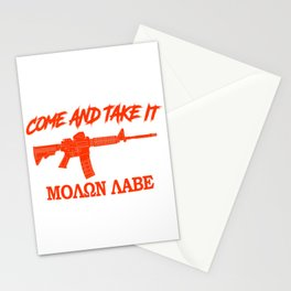 Come and Take It! Molon Labe! Red in Greek. Stationery Cards