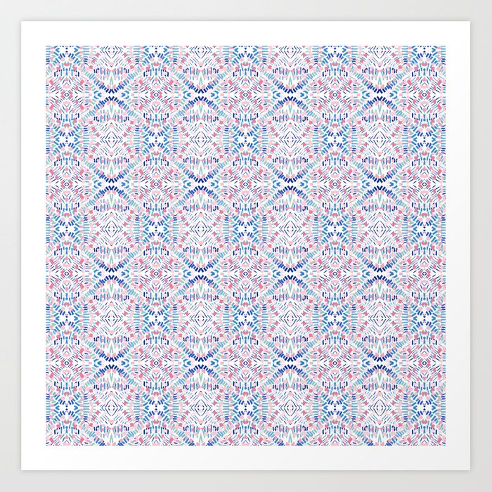 Dashes and Diamonds - Pinks and Blues Art Print