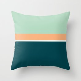 Lines Print Turquoise, Orange and Green Throw Pillow