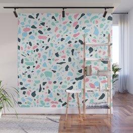 Terrazzo memphis vintage pastel blue green pink Wall Mural
