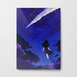 Behold the Galaxy - Anime Girl looking at the Stars Metal Print