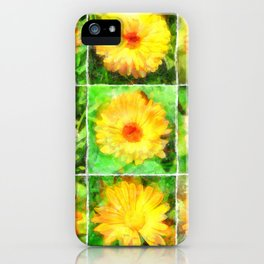 Watercolour Collage of Yellow And Orange Marigolds iPhone Case