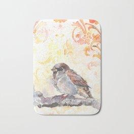 Sparrow in a Damask Autumn Bath Mat