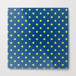 Maize & Blue Polka Dots Metal Print