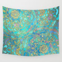 bianca green Wall Tapestries featuring Sapphire & Jade Stained Glass Mandalas by micklyn