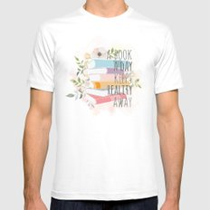 A BOOK A DAY KEEPS REALITY AWAY Mens Fitted Tee White MEDIUM