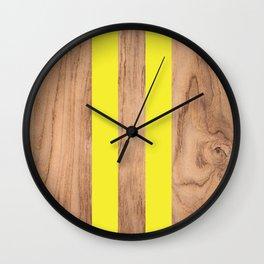 Wood Grain Stripes - Yellow #255 Wall Clock