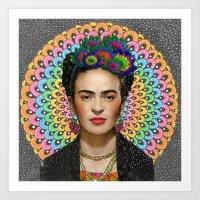 frida kahlo Art Prints featuring Frida Kahlo by Luna Portnoi