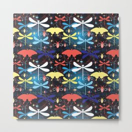 Beautiful graphic pattern different insects against a dark background Metal Print