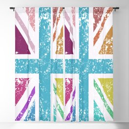 Distressed Multicol Union Jack/Flag Blackout Curtain