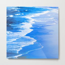 Royal Blue Waves Etched in White Angel-Winged Foam Metal Print