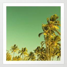 palm love in tropical green gold jewel tones Art Print