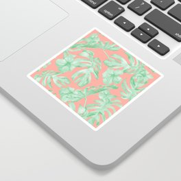 Tropical Palm Leaves Hibiscus Flowers Coral Green Sticker