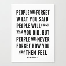 I'll never forget you motivational quote Canvas Print