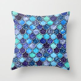 Colorful Teal & Blue Watercolor & Glitter Mermaid Scales Throw Pillow
