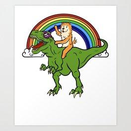 Pomeranian Riding T-Rex Dinosaur  Art Print