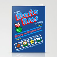 mario bros Stationery Cards featuring Super Mario Bros Plumbing by brit eddy