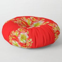 """RED ON RED"" AMARYLLIS GARDEN FLOWERS  PATTERN Floor Pillow"