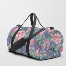 Vintage Watercolor hummingbird and English Roses on blue Background Duffle Bag