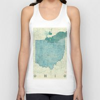 ohio state Tank Tops featuring Ohio State Map Blue Vintage by City Art Posters
