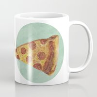 pizza Mugs featuring pizza by Sara Morán