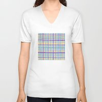 plaid V-neck T-shirts featuring Plaid Pattern by Anita Ivancenko