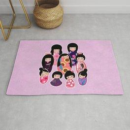Kokeshi in Pinks & Purples Rug